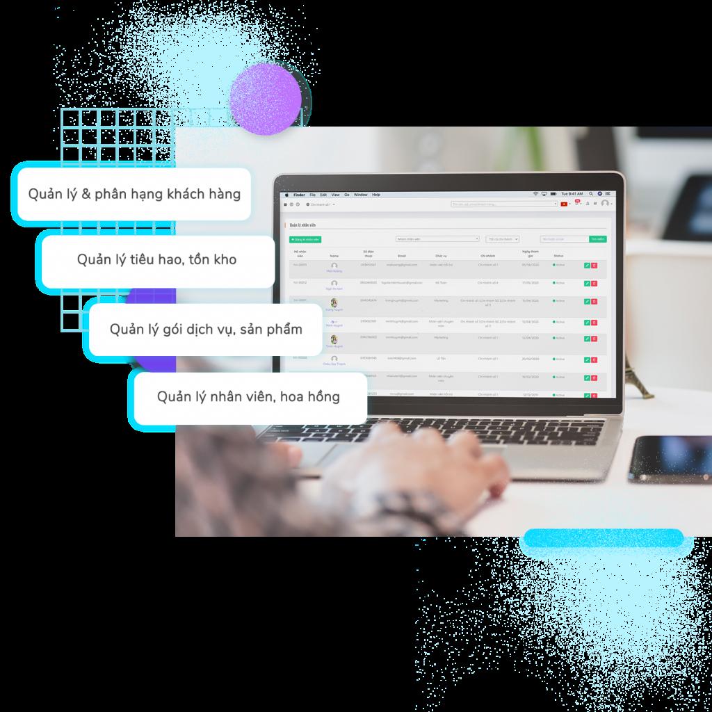 Tính năng trên phần mềm quản lý Spa chặt chẽ giúp Chủ spa tiết kiệm thời gian với các tính năng tuyệt vời