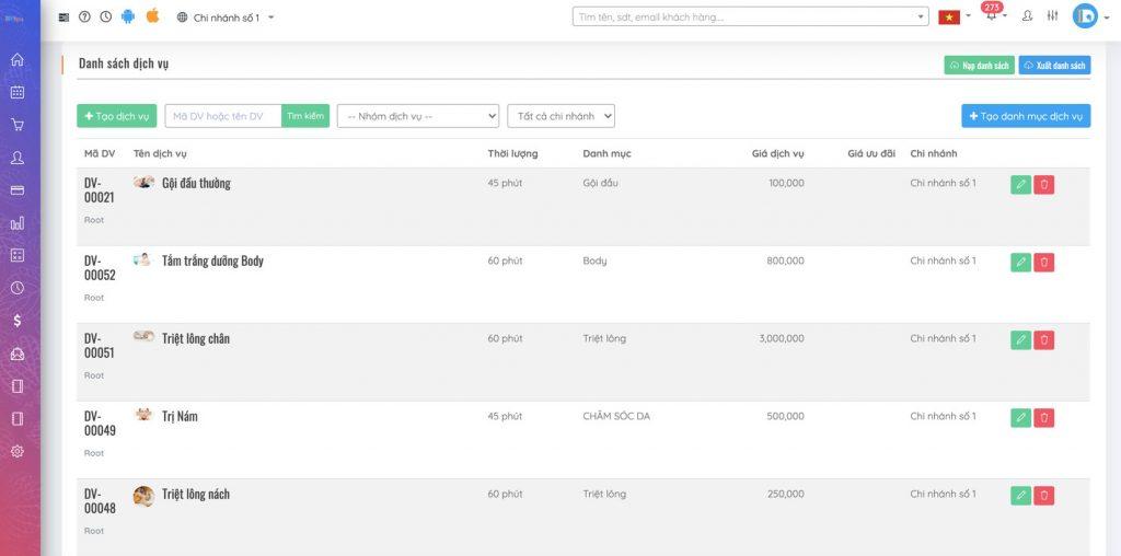 Tính năng cài đặt danh sách dịch vụ không giới hạn ở phần mềm IDSPA